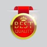 Gouden grens en het lint van de rode bovenkant de Beste Kwaliteit op witte achtergrond Royalty-vrije Stock Afbeelding