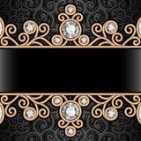 Gouden grenskader op patroon Royalty-vrije Stock Afbeeldingen