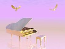 Gouden grote 3D piano - geef terug Royalty-vrije Stock Afbeeldingen