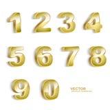 Gouden grunge 3D aantallen Royalty-vrije Stock Afbeeldingen