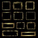 Gouden grungekaders, vector Royalty-vrije Stock Afbeelding