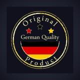 Gouden grungezegel met de tekst Duitse kwaliteit en het originele product royalty-vrije illustratie