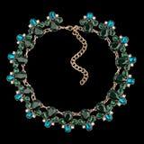 Gouden halsband met diamanten Royalty-vrije Stock Foto's