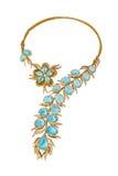 Gouden halsband met topazes en diamanten Stock Foto's