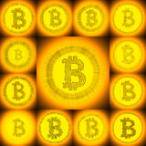 Gouden hand-drawn Bitcoin-symboolcollage Stock Foto's