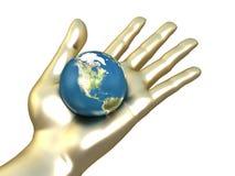 Gouden hand met aarde vector illustratie