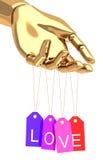 Gouden hand met liefdemarkeringen royalty-vrije illustratie
