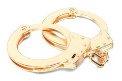 Gouden Handcuffs close-up, het 3D teruggeven Royalty-vrije Stock Foto's