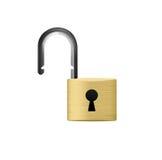 Gouden hangslot met een sleutelgat Stock Fotografie