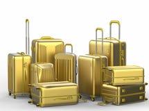 Gouden harde gevalluggages op witte achtergrond Stock Afbeeldingen