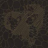 Gouden hart abstract patroon op donkergrijze achtergrond het 3d teruggeven Royalty-vrije Stock Afbeelding