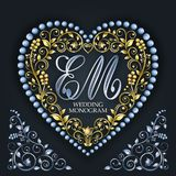 Gouden Hart Huwelijksmonogram Brief E, M Elegant bloemenpatroon stock illustratie