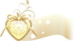 Gouden hart met boog. Decoratieve banner stock illustratie