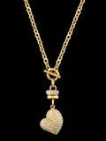 Gouden hart met brilliants royalty-vrije stock foto's