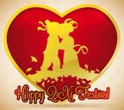 Gouden Hart met Paarsilhouet die Qixi-Festival, Vectorillustratie vieren vector illustratie