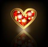 Gouden Hart met robijn Stock Afbeelding