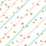 Gouden hart naadloos patroon Blauw-roze-witte geometrische strepen, gouden confetti-harten Symbool van liefde, Valentine-dag royalty-vrije illustratie