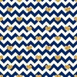 Gouden hart naadloos patroon Blauw-witte geometrische zigzag, gouden confetti-harten Symbool van liefde, Valentine-dagvakantie vector illustratie