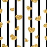 Gouden hart naadloos patroon Zwart-witte geometrische strepen, gouden confetti-harten Symbool van liefde, Valentine-dag vector illustratie