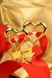 Gouden hart twee Stock Afbeeldingen