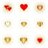 Gouden harten Royalty-vrije Stock Afbeeldingen