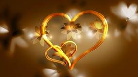 Gouden Harten en Bloemen stock illustratie