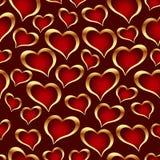 Gouden hartenachtergrond stock illustratie