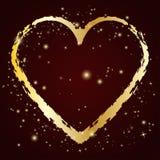 Gouden hartpictogram met grungeborstel Vector illustratie vector illustratie