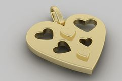 Gouden harttegenhanger stock illustratie