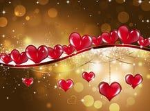 Gouden Heilige Valentine Greeting Card Stock Foto