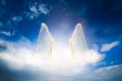 Gouden hemelpoort in de hemel/3D illustratie royalty-vrije illustratie