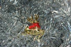 Gouden herten zilveren pluizige decoratie Stock Afbeeldingen