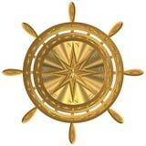 Gouden het anker windrose stuurwiel van het bolkompas royalty-vrije stock fotografie