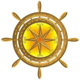Gouden het anker windrose stuurwiel van het bolkompas royalty-vrije stock afbeeldingen