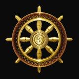 Gouden het boeddhismesymbool van Dharma Stock Foto's