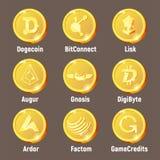 Gouden het embleemmuntstukken van de Criptomunt vector illustratie