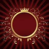 Gouden het frame van de Ring banner met Kroon Stock Illustratie