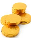 Gouden het muntstukstapels van de chocolade Royalty-vrije Stock Afbeeldingen
