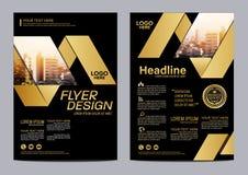Gouden het ontwerpmalplaatje van de Brochurelay-out Van de het Pamfletdekking van de Jaarverslagvlieger de Presentatie Moderne ac vector illustratie