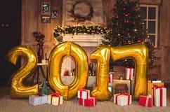 Gouden het tekenballons van 2017 Stock Afbeelding