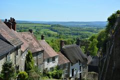 Gouden Heuvel Shaftesbury Engeland stock foto's