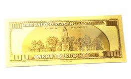 Gouden honderd dollarsbankbiljet Stock Afbeeldingen
