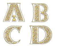Gouden Hoofdletters 1 royalty-vrije illustratie
