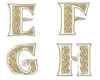 Gouden Hoofdletters 2 stock illustratie