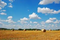 Gouden hooibalen tegen een schilderachtige bewolkte hemel Stock Foto's