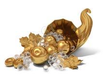 Gouden hoorn des overvloeds met een kristalwijnstok Stock Afbeelding
