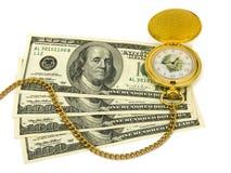 Gouden horloge op geld Royalty-vrije Stock Foto's