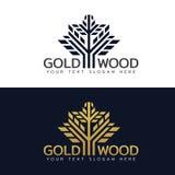 Gouden Houten boomembleem met lijn en vorm vectorkunstontwerp Royalty-vrije Stock Afbeeldingen