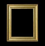 gouden houten die kader op zwarte achtergrond wordt geïsoleerd. Royalty-vrije Stock Afbeelding