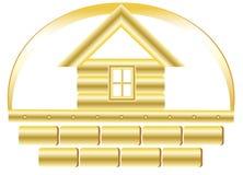 Gouden huis en bakstenen Stock Afbeeldingen